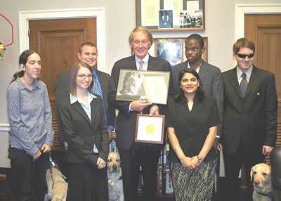 Deaf-Blind Young Adults and Representative Ed Markey